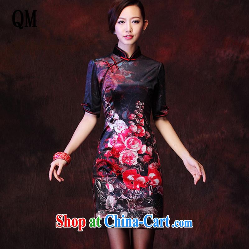 light at the Korean wool stamp retro improved marriage stylish bows elegant qipao XWG 1208 - 27 black XXXL
