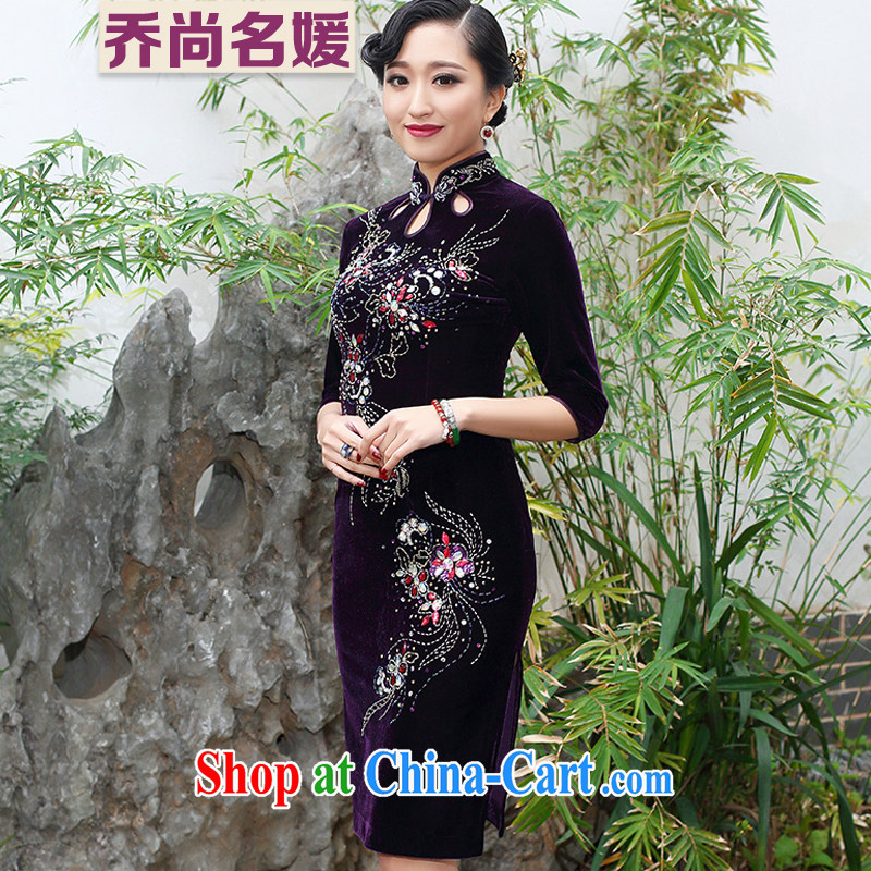 Joe is still name-yuan gold velour cheongsam dress summer Chinese antique Chinese SRDZ 117 purple cuff in 4 XL