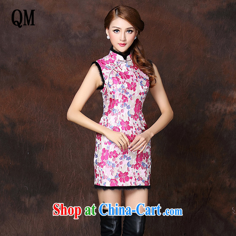 The end is improved and stylish sleeveless Folder unit does not turn on Ms. Lao cheongsam dress XWG 141,014 red XL