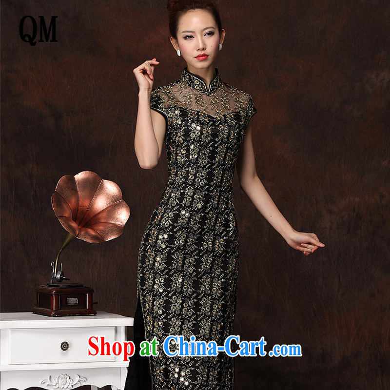 Shallow end improved stylish long cheongsam embroidery high's sexy retro banquet cheongsam dress XWG 134 - 1 black XXXL