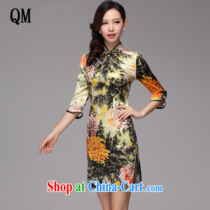 Light the original improved stylish and elegant silk huang ju daily Leisure Short cheongsam XWG 2013 - 02 Map Color XXXL