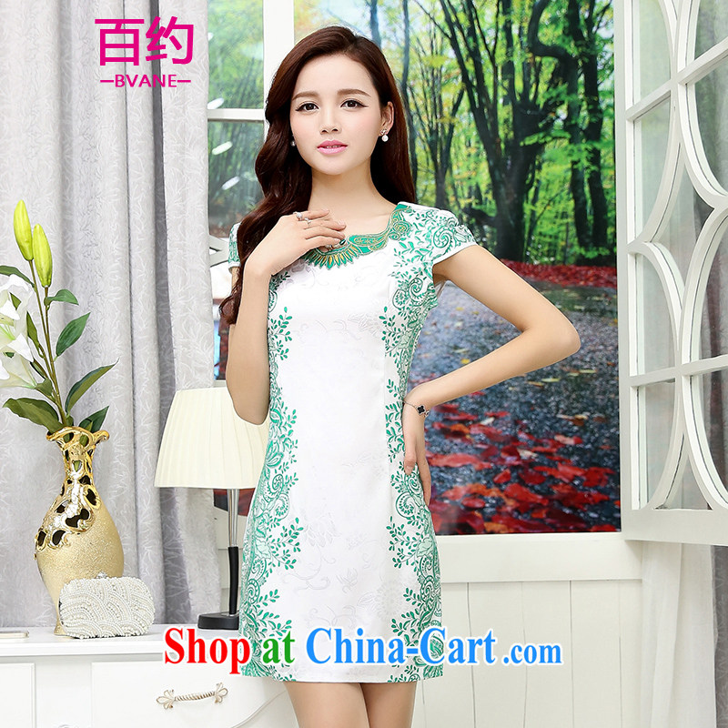 About 100 spring 2015 summer daily fashion improved cheongsam beauty dress dress new short, retro style graphics thin robes white and green _the silk scarf_ M