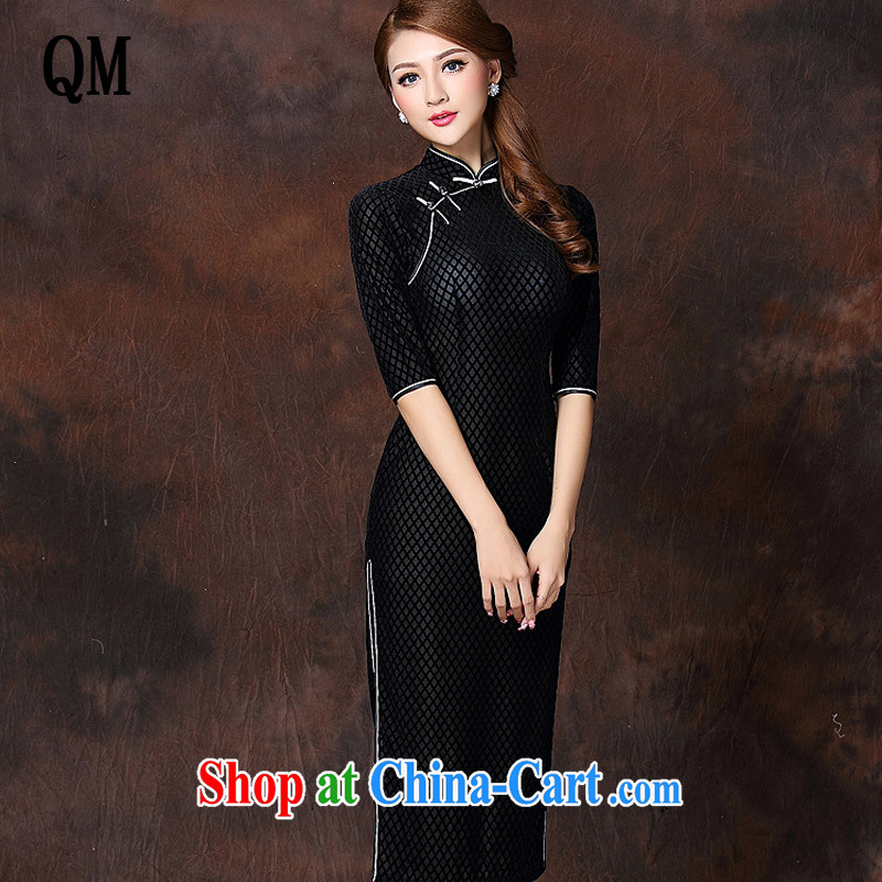 Shallow end improved Stylish retro long elegance velvet cheongsam dress XWG 141,007 black XXXL