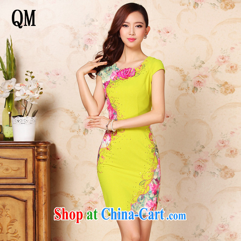 Very late summer, improved stylish three-dimensional embroidery without the forklift truck daily short cheongsam dress XWG 335 Map Color XXL
