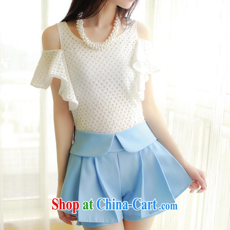 Only 2015 summer terrace shoulder Korean Beauty half sleeve T-shirt leak shoulder short-sleeved T-shirt girl Openwork flouncing cream are code