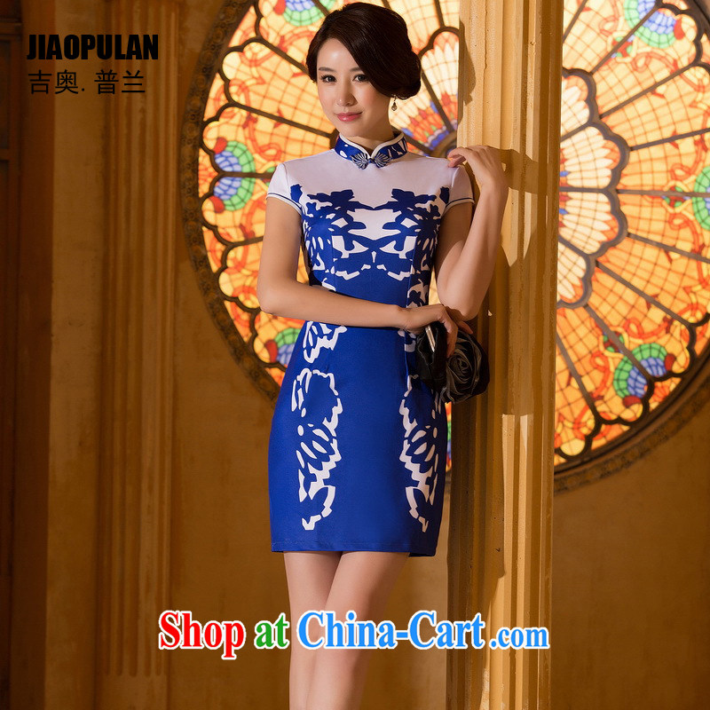 Mr. Kaplan 2015 spring and summer New China wind Stylish retro silk short cheongsam dress dresses PL 8000 photo color XXL