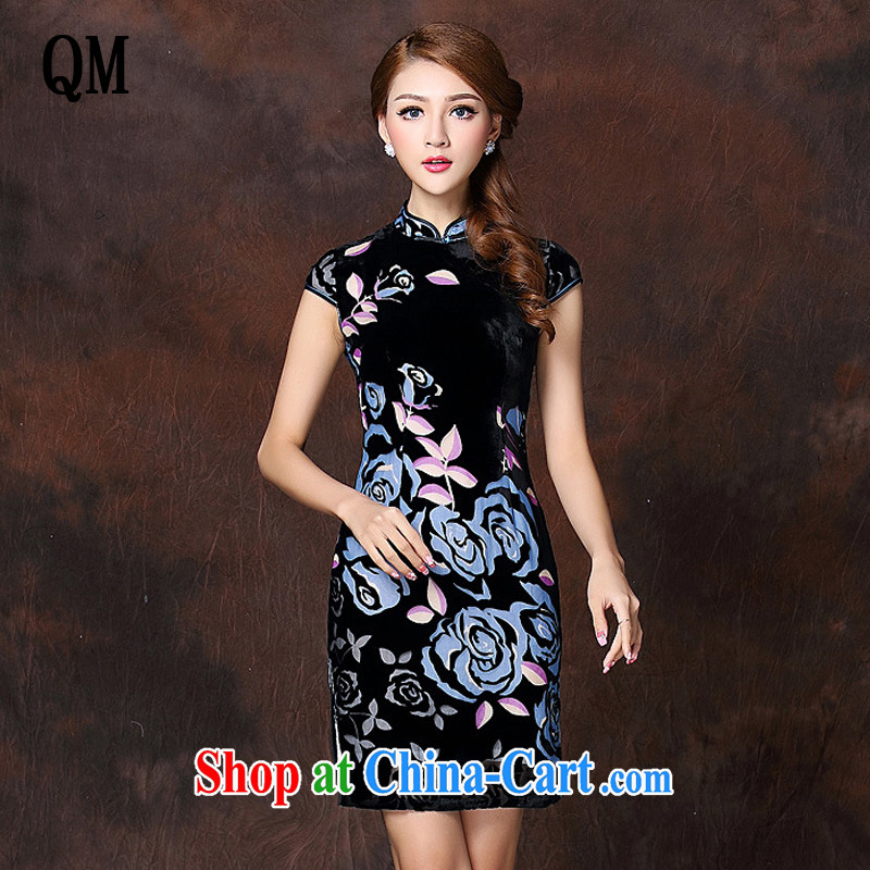 Shallow end improved Stylish retro sauna silk-Ms. lao daily short cheongsam XWG 141,017 blue XXXXL