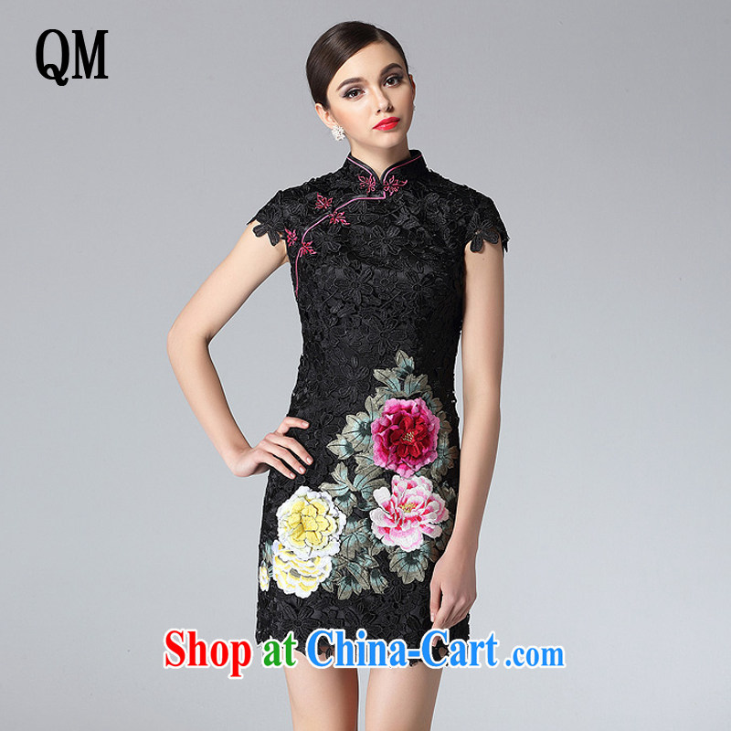 Very high end water-soluble lace cheongsam dress stylish and improved three-dimensional embroidery elegant qipao XWG 8810 black XXL