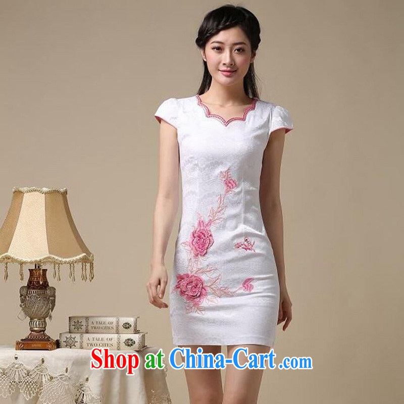 Forest narcissus 2015 summer on a new simple and stylish improved flower embroidery short sleeve does not rule with cultivating short cheongsam Chinese JAYT - 39 Blue on white flower XXL