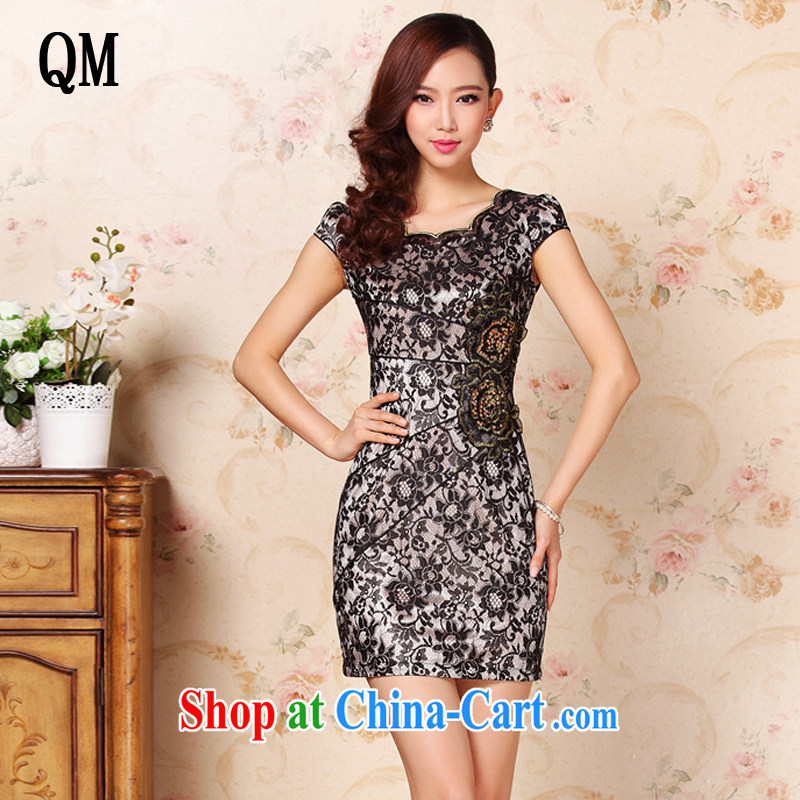 Shallow end summer improved stylish lace-up's elegant daily short cheongsam dress XWG 321 Map Color XXL