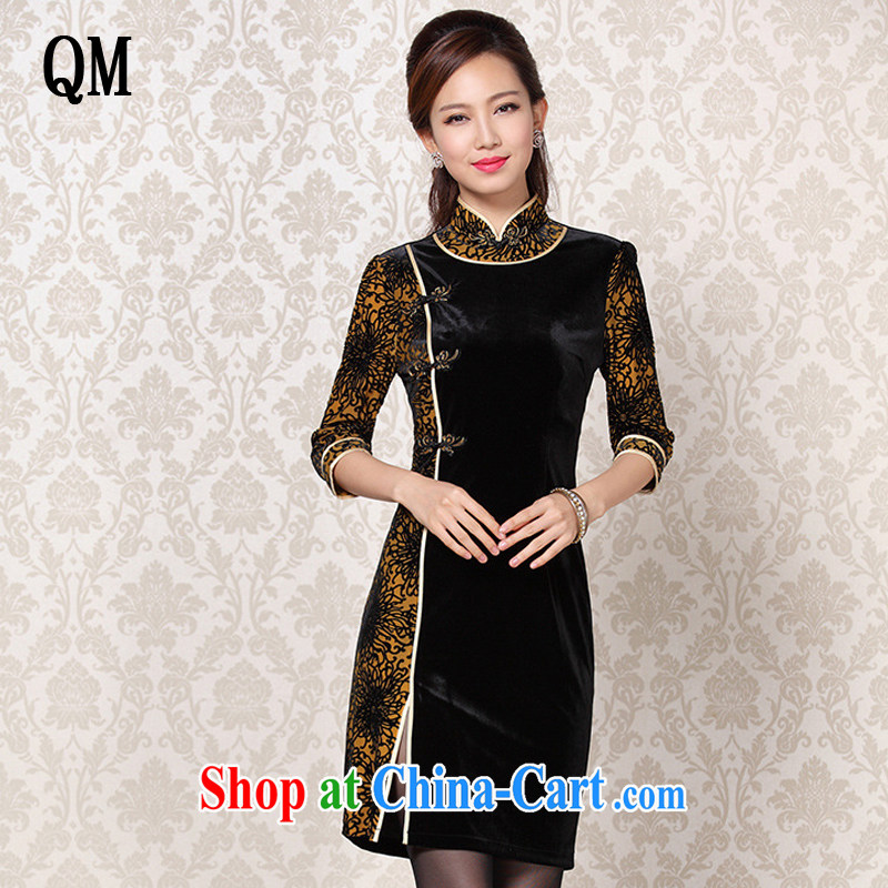 Shallow end improved Stylish retro wool stitching in short sleeves cheongsam XWG 13 - 6092 Map Color L