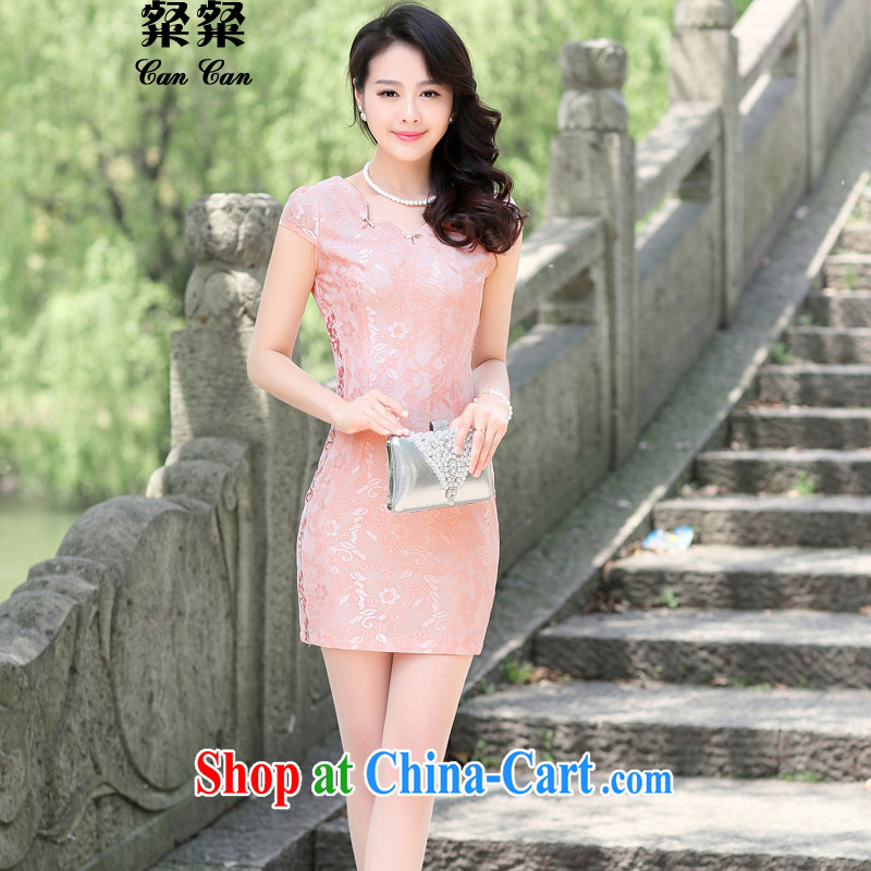 To call for summer 2015 new Chinese elegant antique beauty graphics thin package and improved cheongsam dress pink M