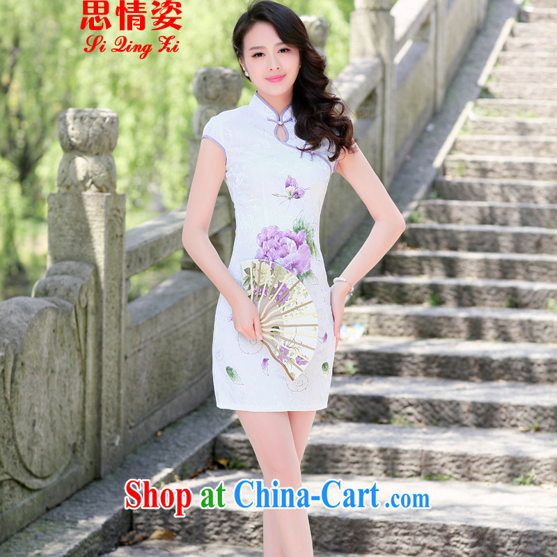 To call for summer 2015 new cultivating improved Chinese, elegant qipao skirts dresses summer purple Peony XXL