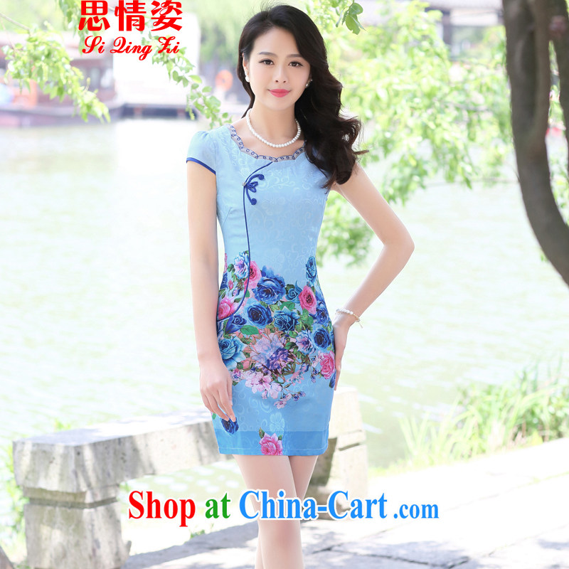 To call for summer 2015 new retro improved quality sauna silk short-sleeved dresses girls dresses blue rose M