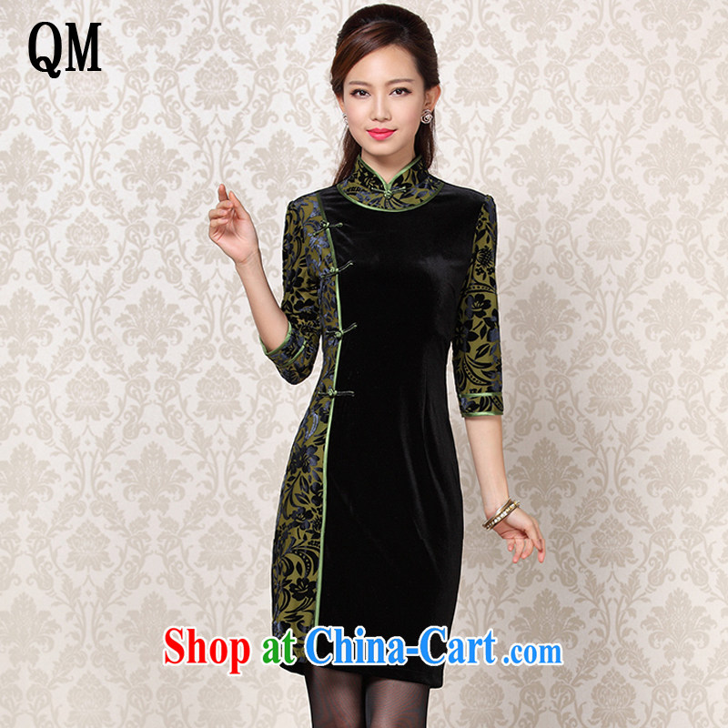 light at the improved Stylish retro wool stitching in short sleeves cheongsam XWG 13 - 6091 Map Color XXL