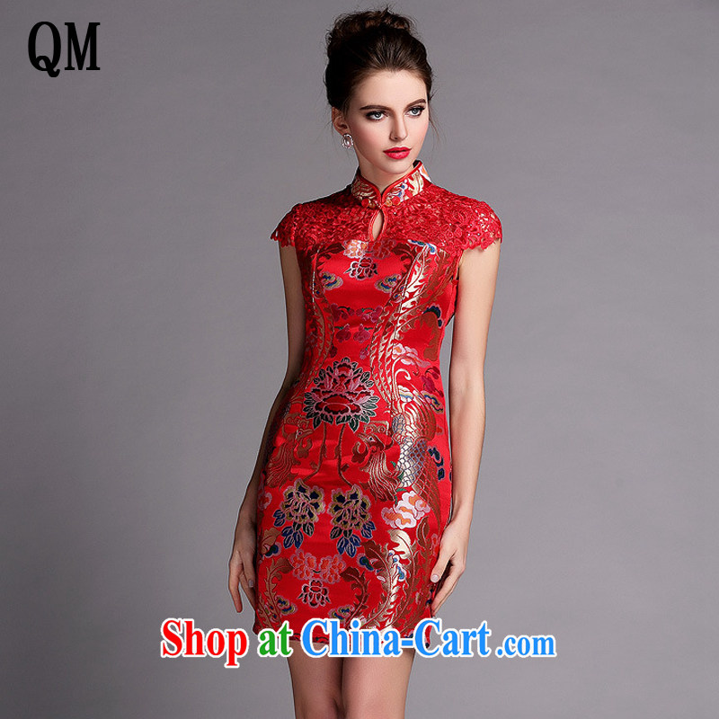 The end is very stylish and improved water-soluble cheongsam sexy wedding dress XWG 140,505 red XXL