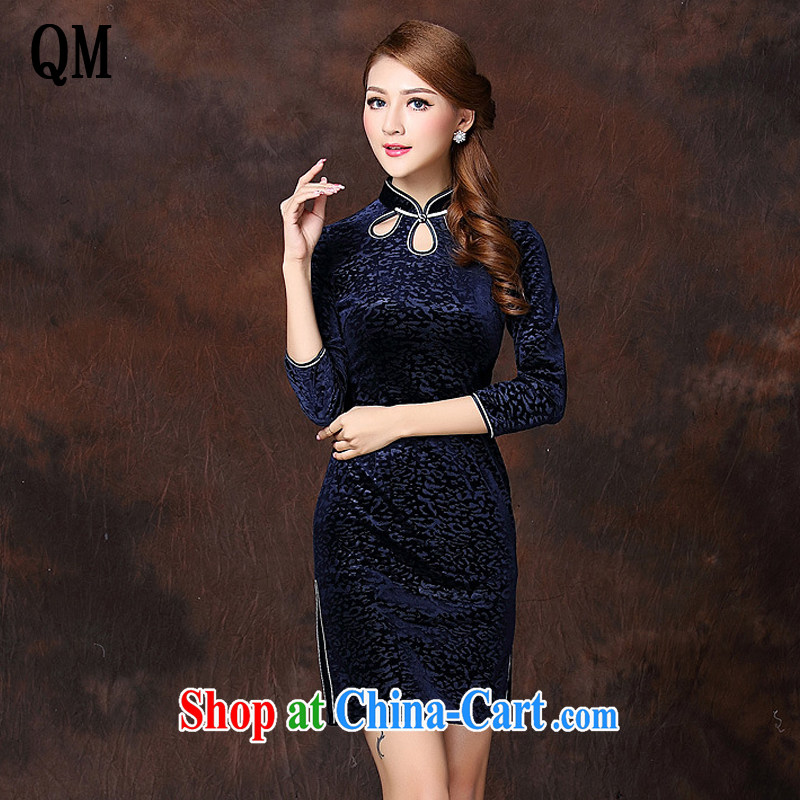 The end is a refined and Stylish retro facade wool short cheongsam XWG 141,001 blue XXXXL