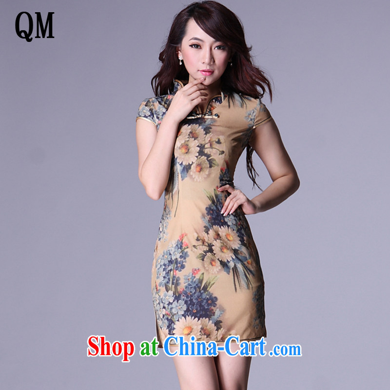 Shallow end emulation, improved Stylish retro leisure-'s short cheongsam XWG 007 - 6 Map Color XXL