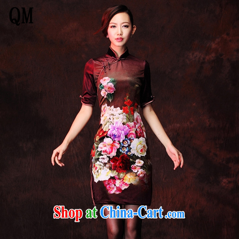 Shallow end wool stamp improved retro fashion daily in short sleeves, qipao XWG 1208 - 26 Map Color XXXL
