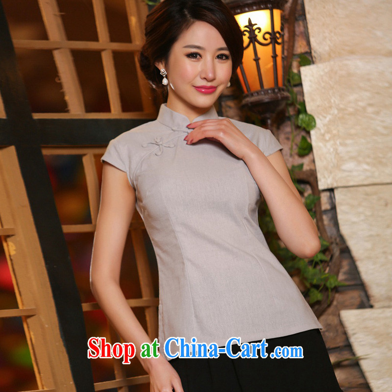 Flax nostalgic traditional manual tray clip elegant and modern Chinese qipao T-shirt light gray S