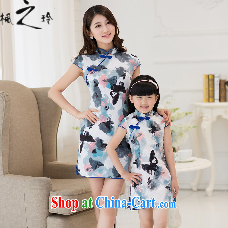 Summer 2015 new beauty, the lumbar Chinese Ethnic Wind improved antique cheongsam dress parent-child fitted dress girls butterfly knot flower s