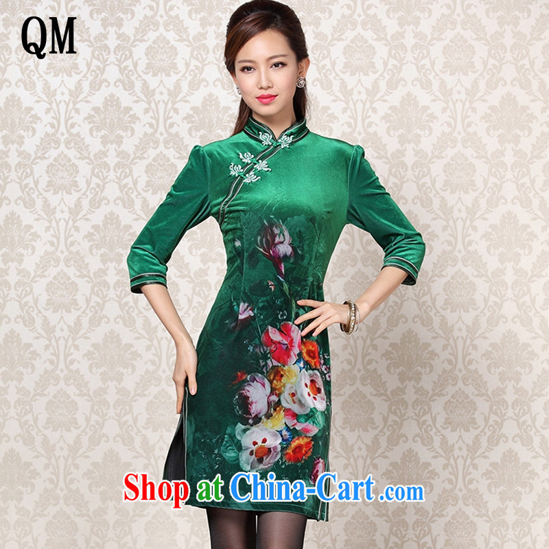 Shallow end improved Stylish retro wool stamp double-flap in short sleeves cheongsam XWF 13 - 26 emerald-colored XXXL