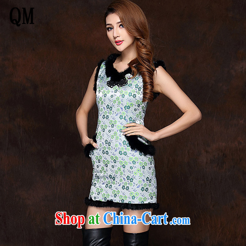 light at the improved stylish spell gross sleeveless quilted is not the Lao short cheongsam XWG 141,012 fruit green XXL