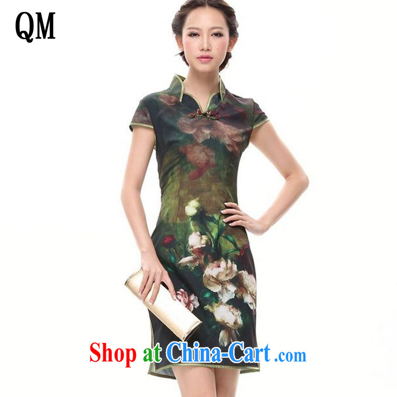light at the improved retro stamp duty cheongsam dress everyday leisure short-sleeved qipao XWG 002 - 5 green XXL