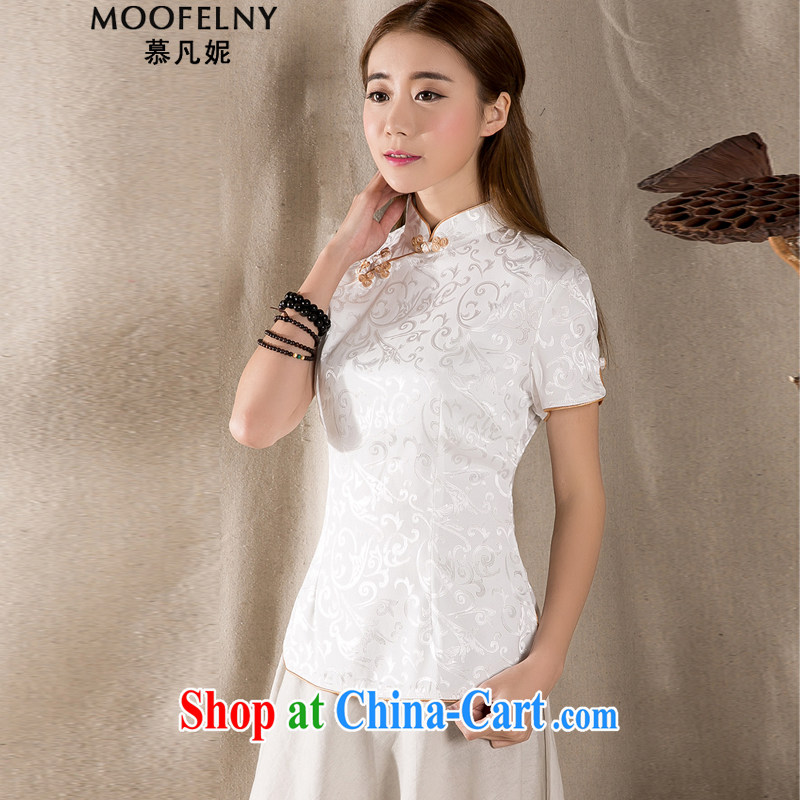 The Stephanie 2015 summer New-snap embroidery female T-shirt China wind female antique Chinese Z 1213 white XXXL
