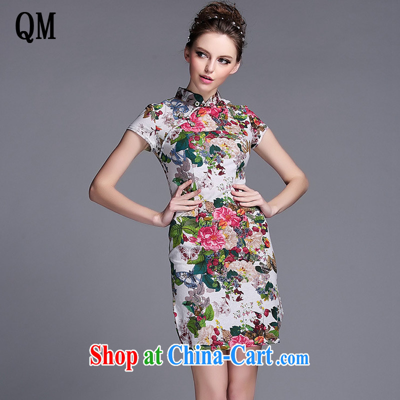 Very late summer 2015 stylish linen water and ink stamp-Korea Lao wind short cheongsam XWG 140,530 Map Color XXL