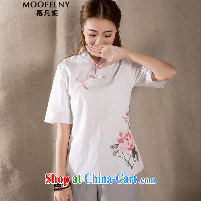 The Stephanie 2015 cotton Ma hand-painted antique art Chinese Chinese T-shirt retro arts girls T-shirt white M