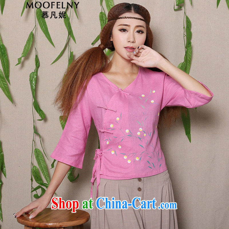 The Stephanie 2015 summer new hand-painted cotton the fresh arts 100 ground Chinese female Chinese T-shirt pink XL
