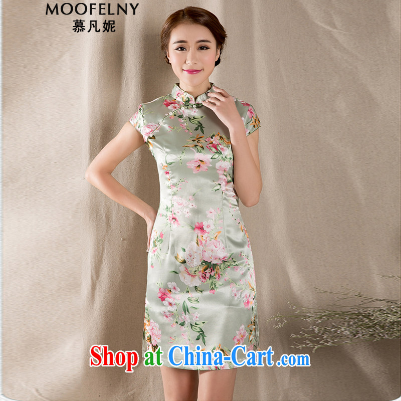 The Stephanie 2015 summer new tray snap stamp arts and cultural Ethnic Wind improved antique cheongsam dress China wind suit XL