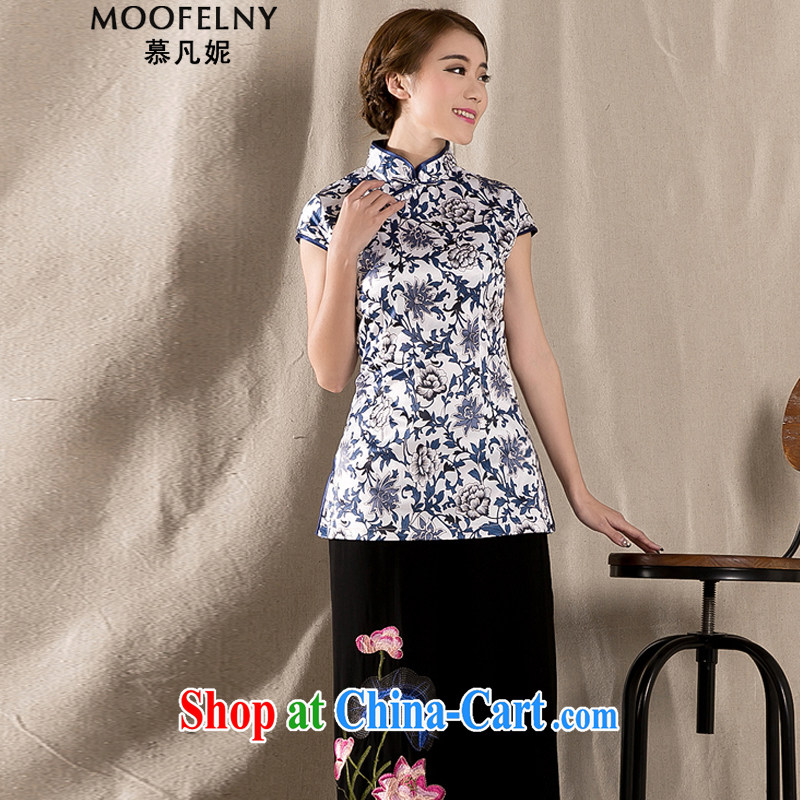 The Stephanie 2015 spring and summer new Ethnic Wind Chinese improved cheongsam shirt cultivating cotton Ms. Yau Ma Tei Tong load Z 1231 fancy XXL