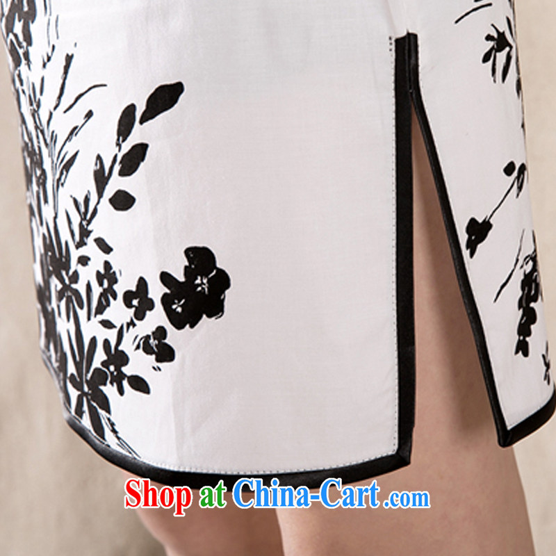 The Stephanie 2015 summer new Stylish retro cheongsam dress China wind stamp dresses white XL, Stephanie (MOOFELNY), shopping on the Internet