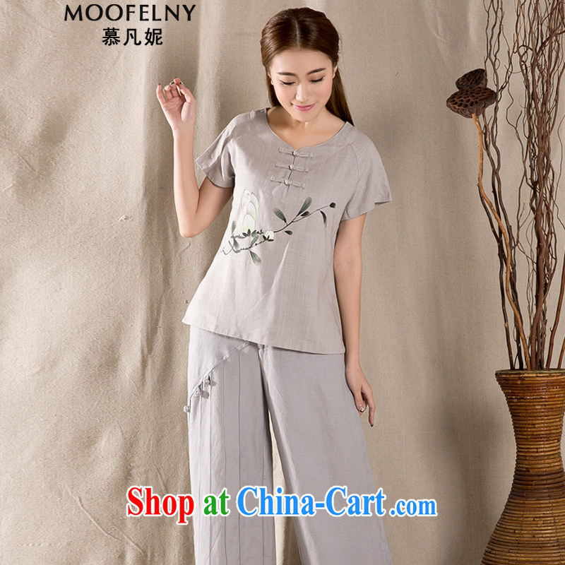 The Stephanie 2015 summer new antique Chinese female improved fashion cheongsam shirt cotton Ms. Yau Ma Tei Tong load Z 1220 light gray XXL