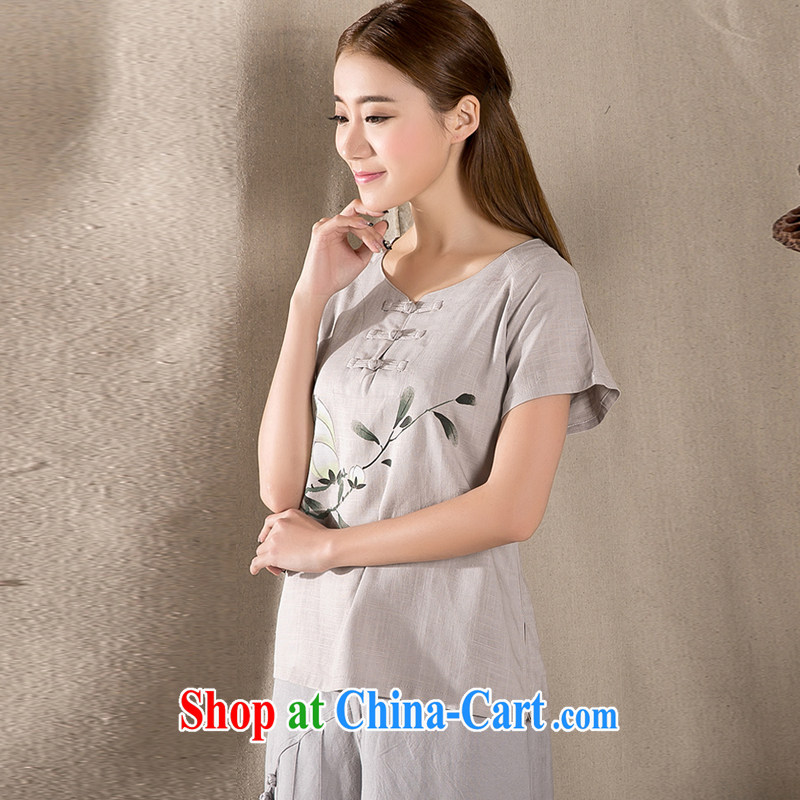 The Stephanie 2015 summer new antique Chinese female improved fashion cheongsam shirt cotton Ms. Yau Ma Tei Tong load Z 1220 light gray XXL, Stephanie (MOOFELNY), online shopping