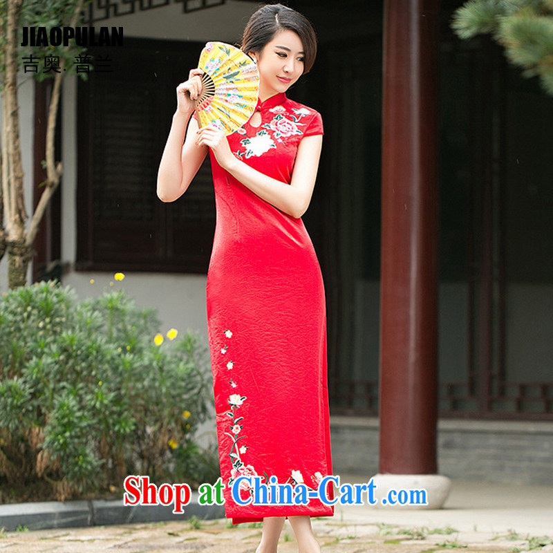 Mr. Kaplan 2015 spring and summer new stylish upscale embroidered bridal long cheongsam wedding bows dresses PL 098 red XXL