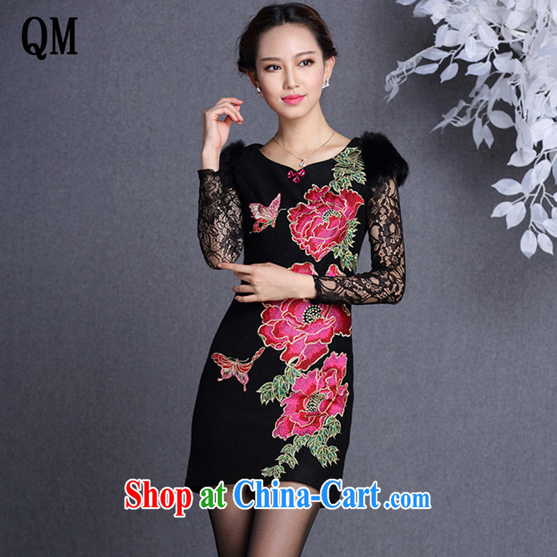 light at the improved stylish Beauty and Hair shoulder embroidered hair so short cheongsam XWG 13,017 black XXL