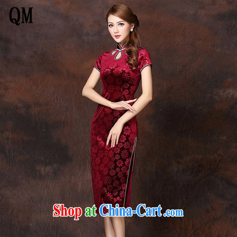 Shallow end improved Stylish retro-day a short-sleeved wool long cheongsam XWG 141,026 wine red XXXXL