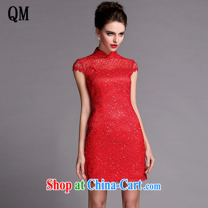 Shallow end improved stylish languages empty water-soluble, short dresses red wedding dress toast XWG serving 140,506 red XXL