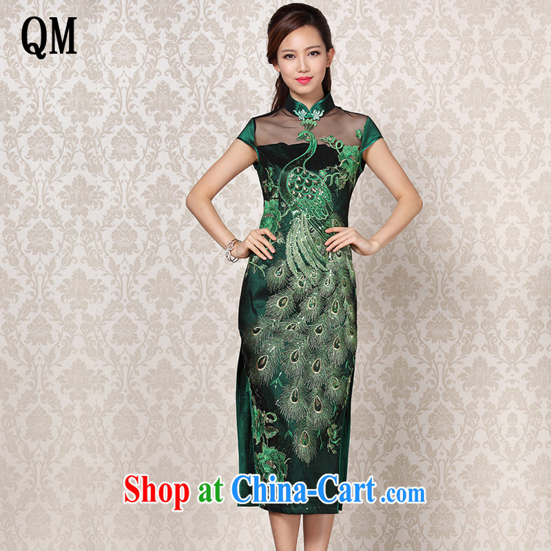 light at the 2015 autumn and winter new improved stylish Web yarn embroidery, banquet long cheongsam XWG 13 - 6099 Peacock green XXL