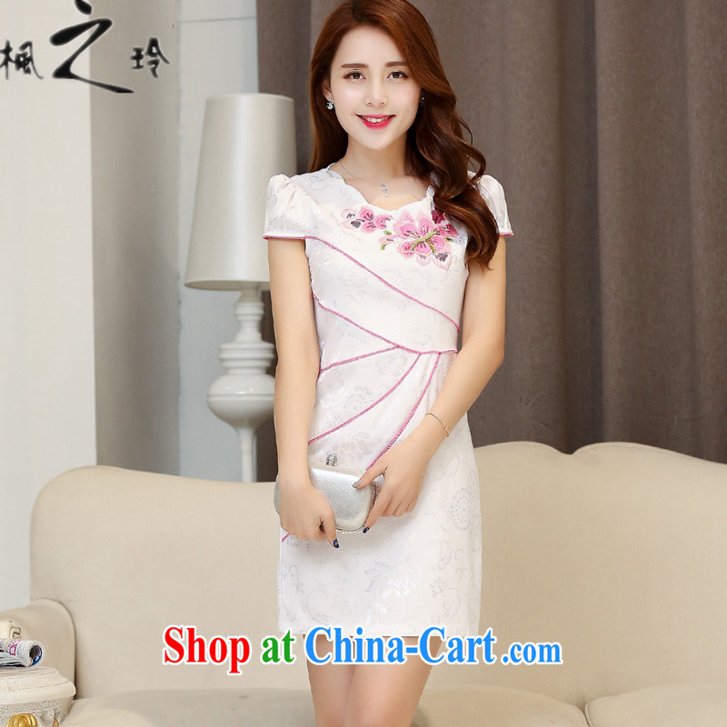 2015 summer new, cultivating the waist Chinese Ethnic Wind improved antique cheongsam dress dresses female white red XXL