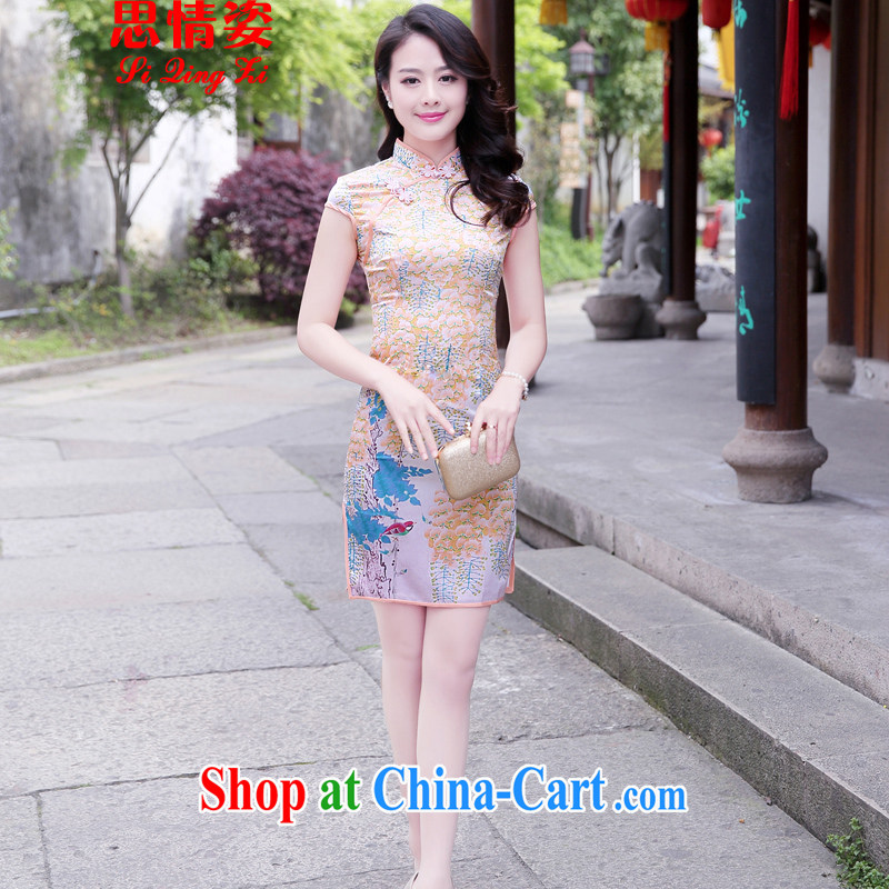To call for summer 2015 new stylish improved retro short sleeve cheongsam dress summer small perfume XXL