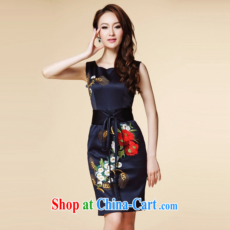 2015 European site new dresses in Europe and the heavy industry embroidery damask sleeveless round neck dress dark blue XL