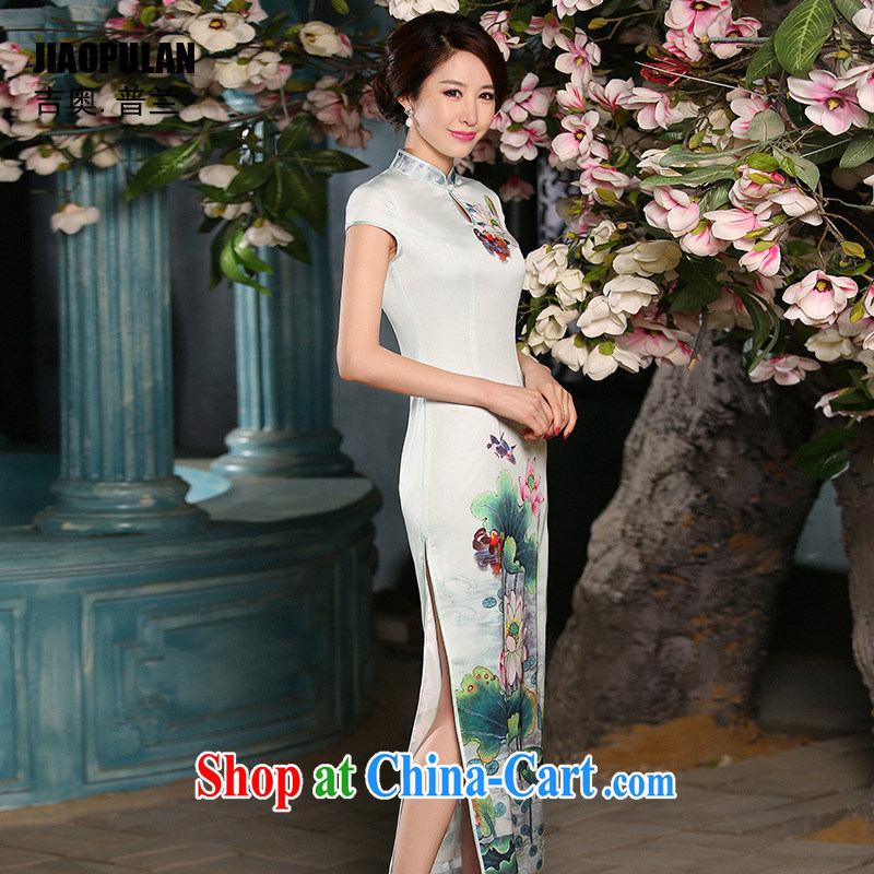 Mr. Kaplan 2015 spring and summer New Long, sexy cheongsam dress stylish Ethnic Wind female graphics thin Silk Cheongsam PL 301 light green M