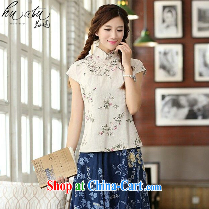 spend the summer lady Tang with improved Chinese neo-classical manual tie orchid, cotton for the short sleeves cheongsam stylish shirt such as the color 2 XL