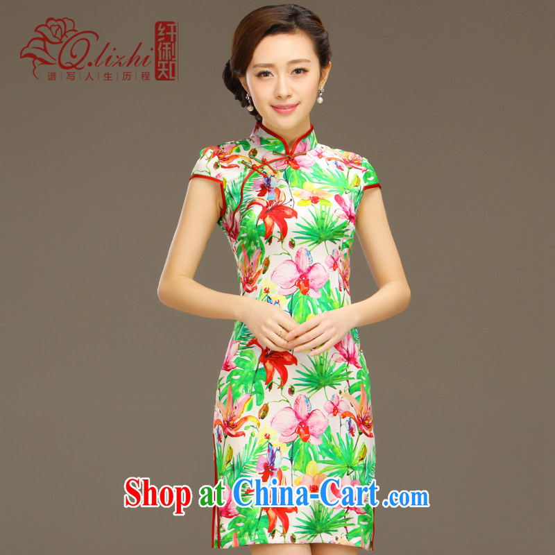 Slim li know Fairview Park, Jiafeng Silk Cheongsam dress new summer retro dresses short daily improved dress beauty workshops QLZ Q 15 6049 Fairview Park, Jiafeng XXL