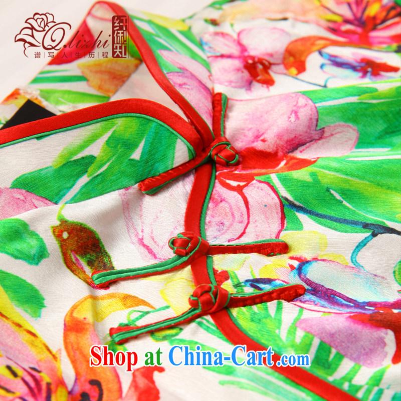 Slim li know Fairview Park, Jiafeng Silk Cheongsam dress new summer retro dresses short daily improved dress beauty workshops QLZ Q 15 6049 Fairview Park, Jiafeng XXL, slim Li (Q . LIZHI), online shopping