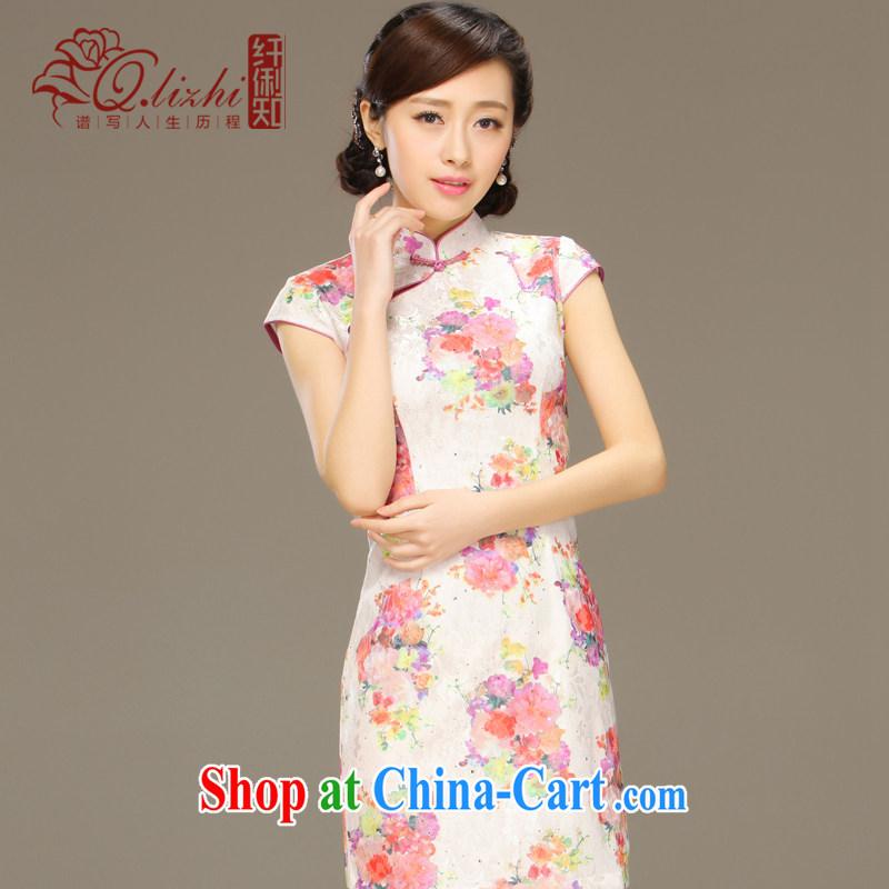 Slim Li known high mortality beauty graphics thin style summer retro female lace dresses improved stylish dresses QLZ Q 15 6051 pink XXL, slim Li (Q . LIZHI), online shopping
